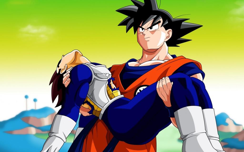 Goku porta in braccio Vegeta