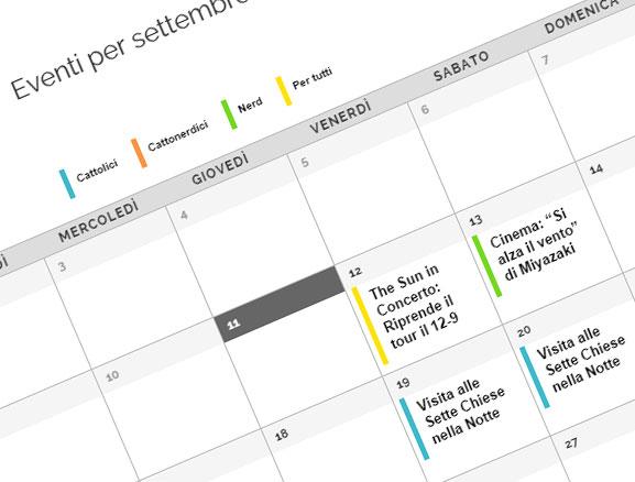 il calendario eventi