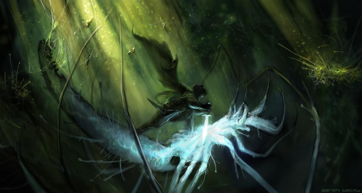 Bilbo uccide un ragno del bosco Atro - Aaron Beck