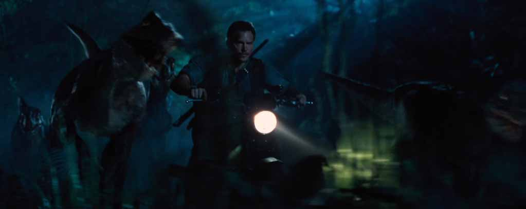 Jurassic World, velociraptors in road