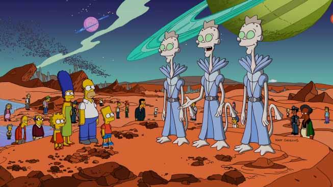 """Pure ne """"I Simpson"""" il quesito dell'esistenza degli alieni se lo pongono spesso... l'immagine in questione è del 23° episodio dedicato all'Horror, della serie """"Treehouse of Horror XXIII"""""""