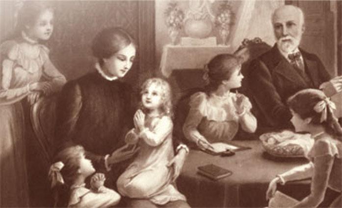 La famiglia Martin al completo raffigurata in un quadro