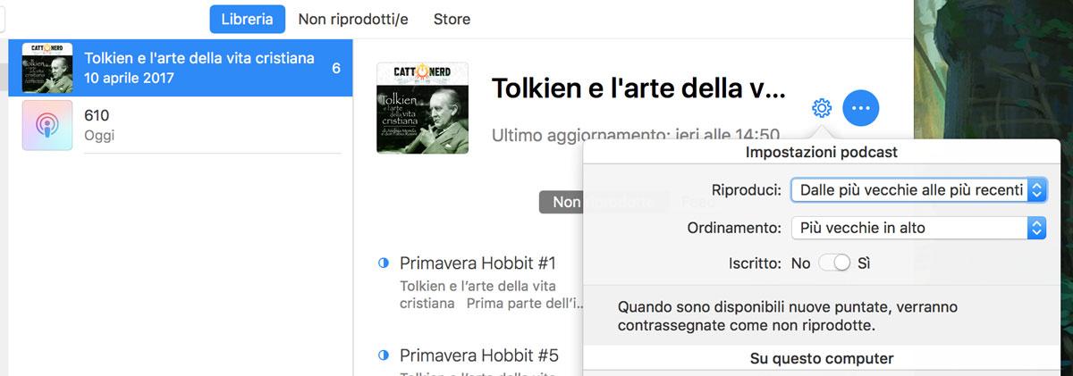 Le impostazioni di iTunes per l'ordine cronologico