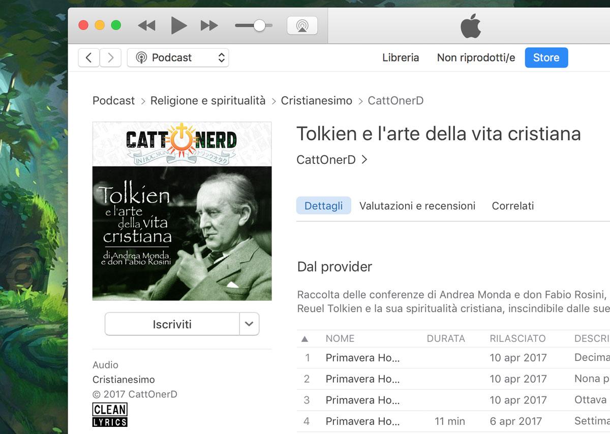 La schermata di iTunes con il nostro podcast