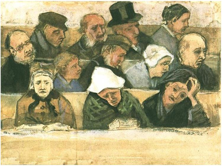 Church Pew with Worshippers Van Gogh