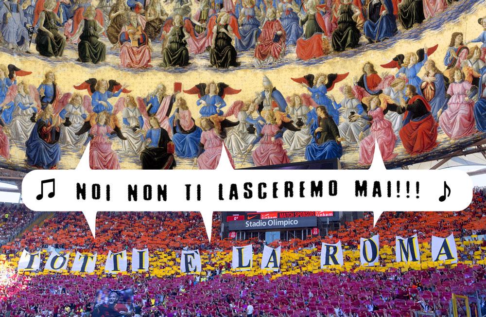 I santi e lo stadio olimpico cantano: non ti lasceremo mai